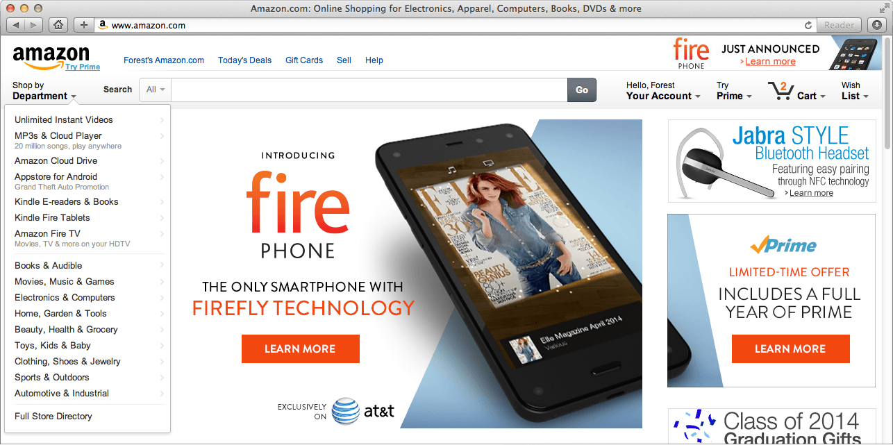 Fire phone announcement on Amazon.com homepage.