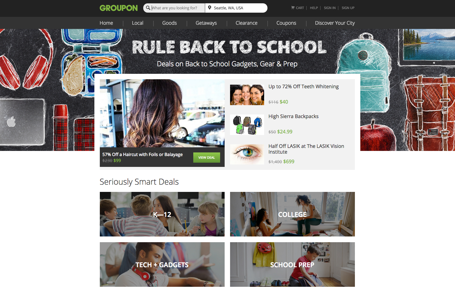 Groupon Back To School Campaign Forest Holder Design